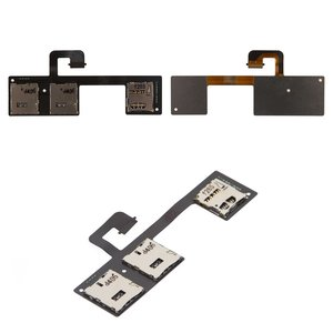 SIM Card Connector compatible with HTC One M7 Dual Sim 802w , (dual SIM, with memory card connector, with flat cable)