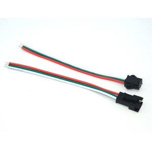 З'єднувальний кабель 3-контактний JST для світлодіодних стрічок WS2811, WS2812, male+female-роз'єм