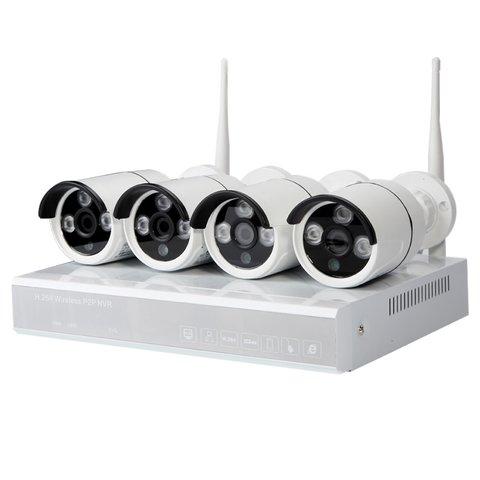 Комплект: мережевий відеореєстратор MIPCK0410 та 4 безпровідних IP камер спостереження 720p, 1 МП