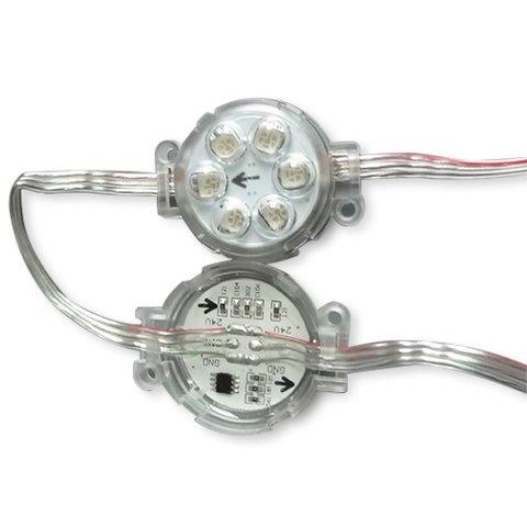 Комплект круглих LED-модулів (UCS1903, 6 світлодів SMD5050, 40 мм, IP67, 20 шт.)